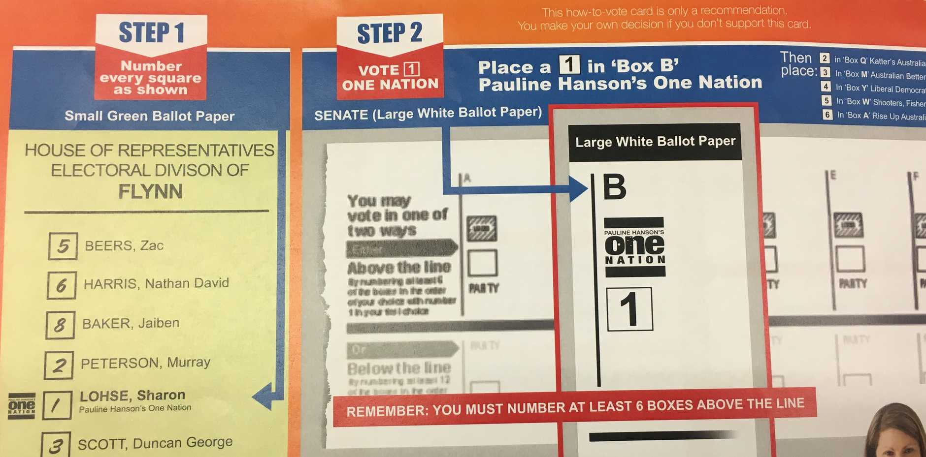 One Nation candidate for Flynn Sharon Lohse's how-to-vote card for the Federal Election.