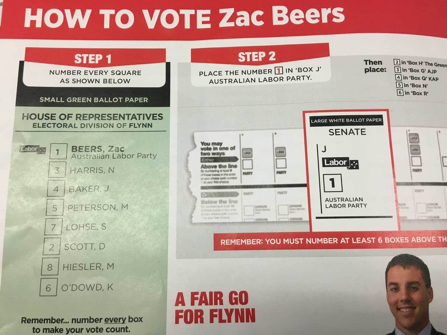 Labor candidate for Flynn Zac Beers' how-to-vote card for the Federal Election.