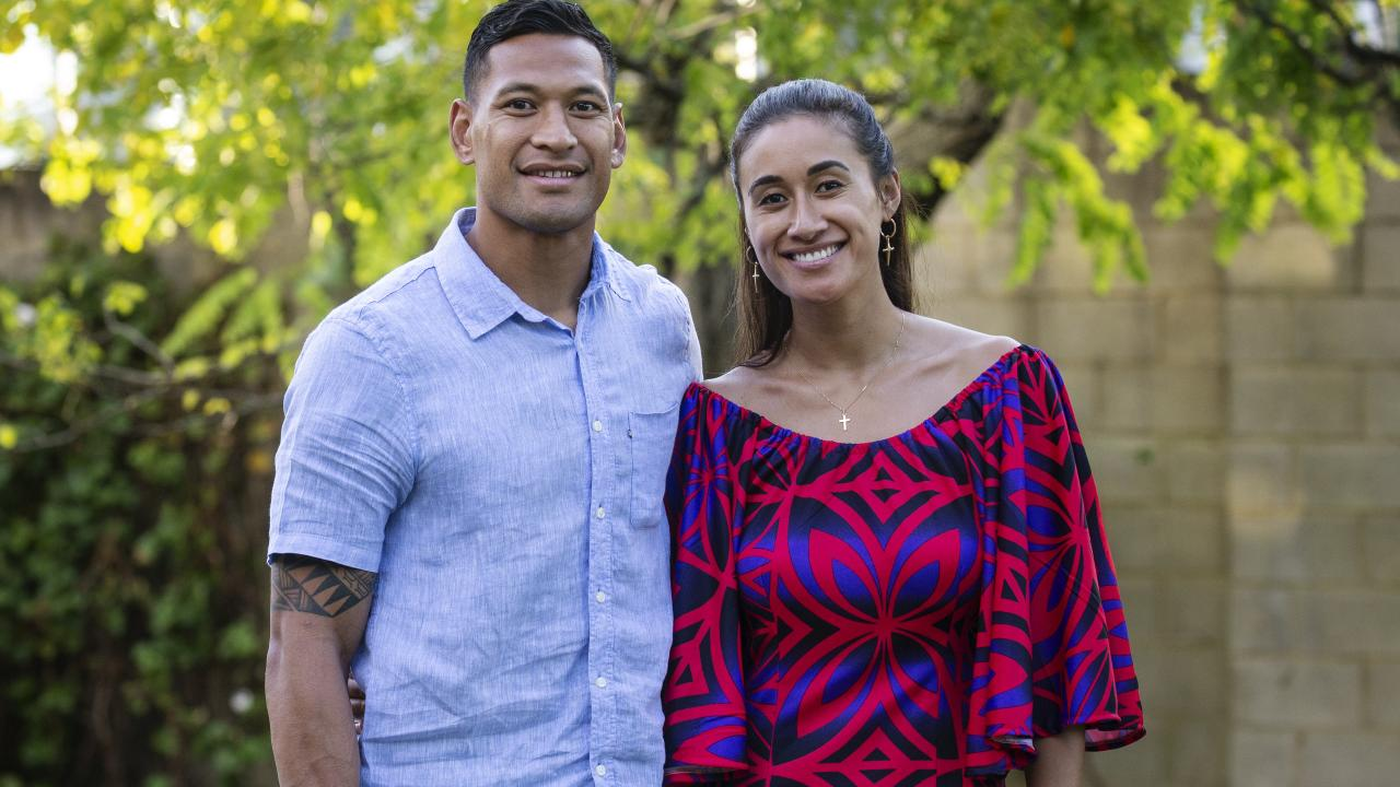Rugby Australia yesterday disputed claims that it had offered Folau about $1 million to walk away from the sport. Pictured: Israel Folau and wife Maria Folau.