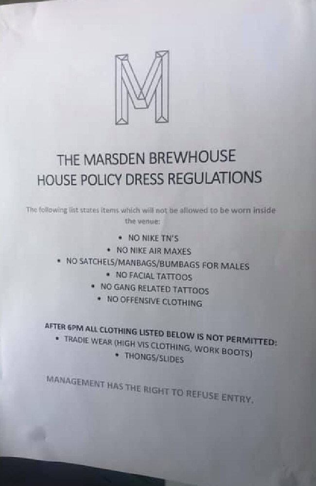 The sign which was outside the Marsden Brewhouse outlined what the regulations were. Picture: Facebook