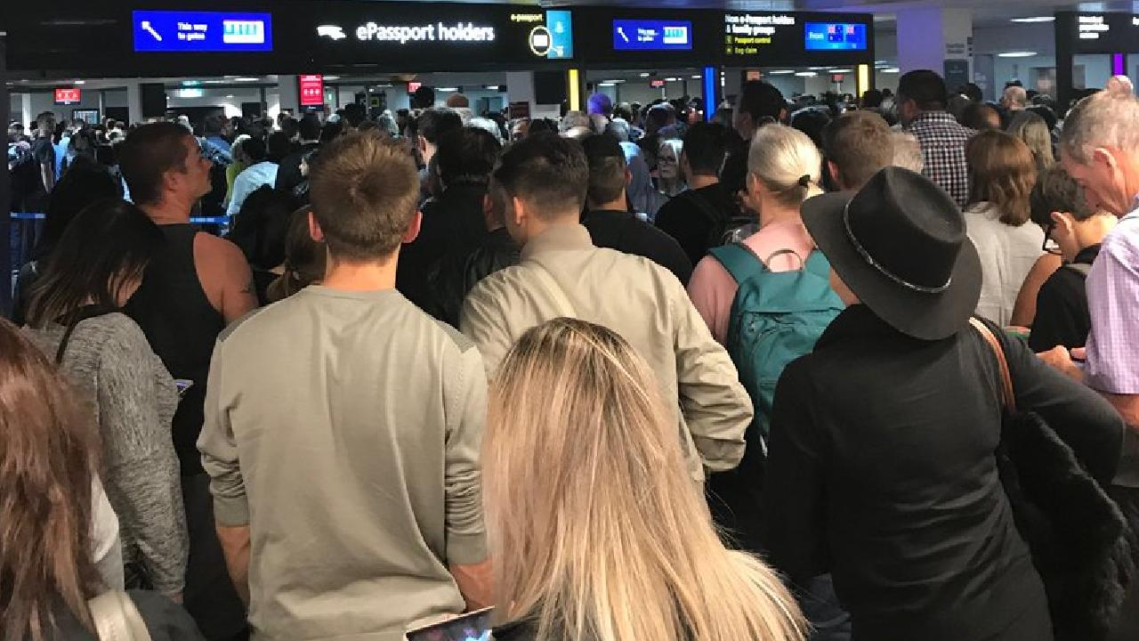 Chaos at Melbourne Airport after an outage at immigration. Picture: Michelle Williams/Twitter