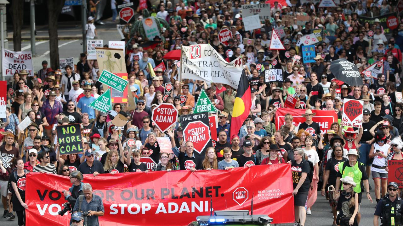 Adani protesters in full flight.
