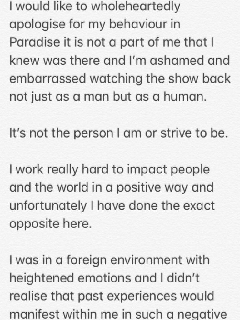 Ivan's apology.
