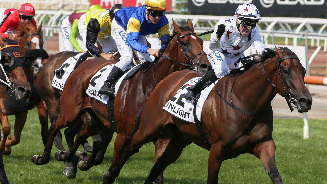 Sunlight wins the Newmarket Handicap at Flemington.