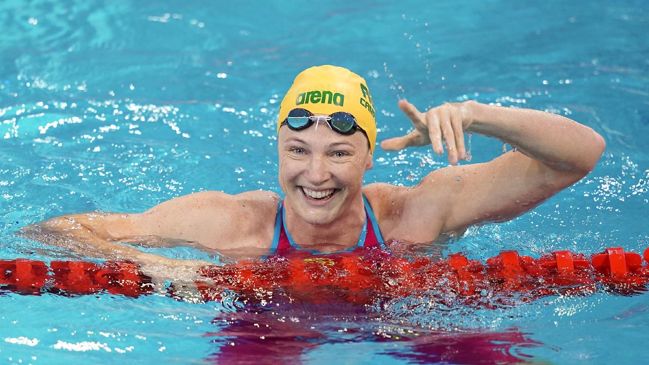Cate Campbell celebrates her win in the 50m freestyle final during the FINA Champions Swim Series in Guangzhou. Picture: Lintao Zhang/Getty Images