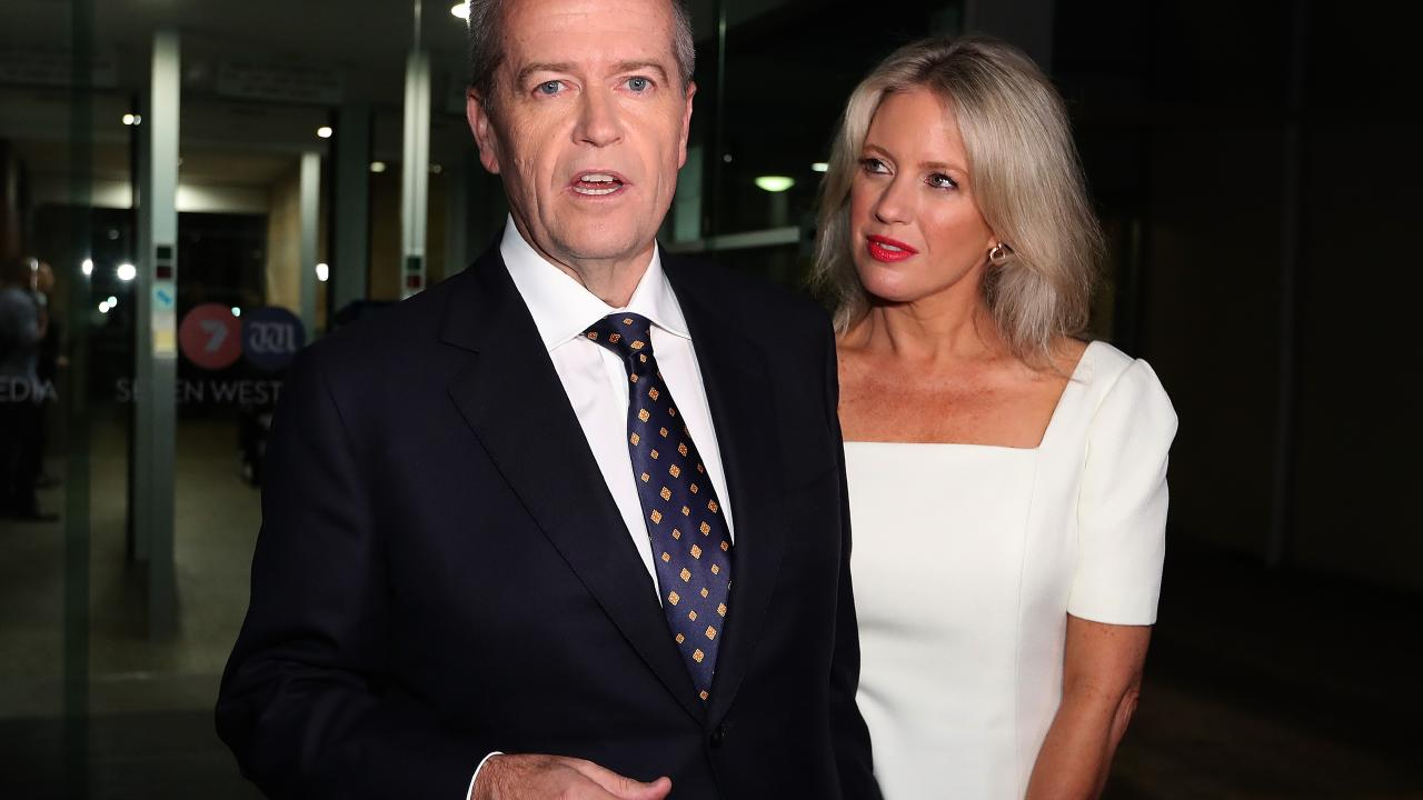 Mr Shorten and wife Chloe leave the Seven West studios in Perth after he managed to get the better of his opponent by talking positives. Picture: Kym Smith