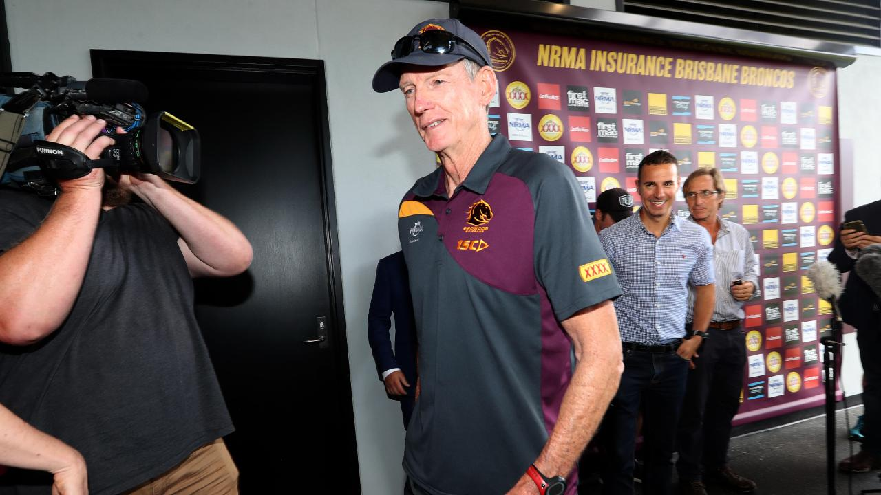 Wayne Bennett leaves the press conference he called on November 30 to announce he would be staying on. Picture: Tara Croser