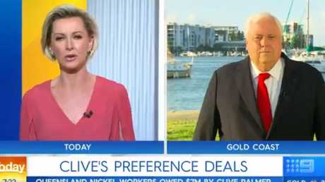 Clive Palmer made an explosive appearance on the Today show.