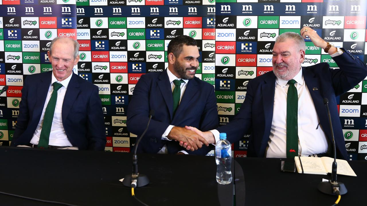 Wayne Bennett, Greg Inglis and Shane Richardson together at Inglis' retirement announcement. Picture: Matrix Pictures