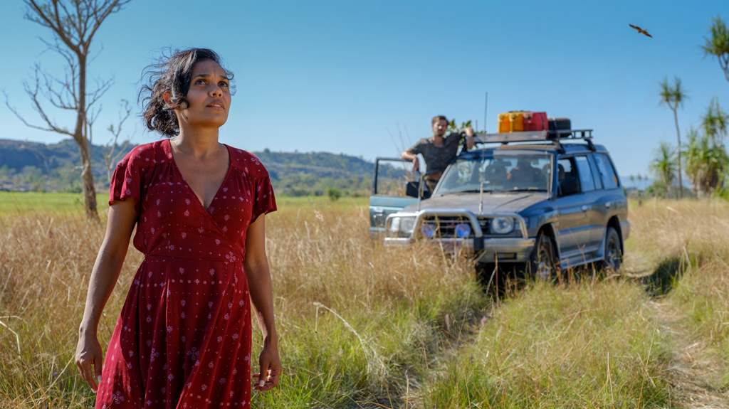 Miranda Tapsell and Gwilym Lee in a scene from the movie Top End Wedding.