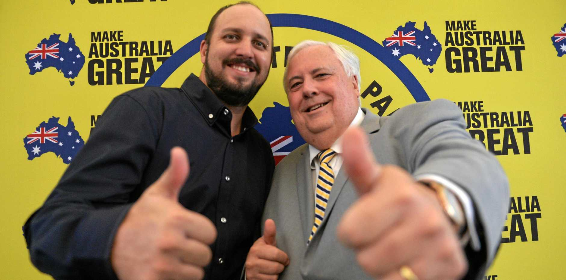 United Australia Party Capricornia candidate Lindsay Sturgeon with party leader and founder Clive Palmer.