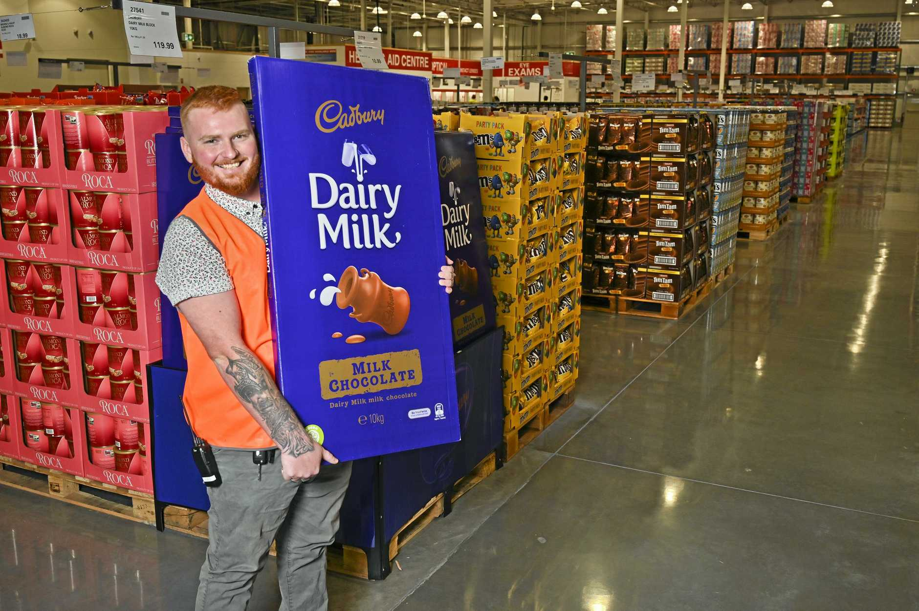 Costco Ipswich. Michael Ash with a 10kg chocolate block.