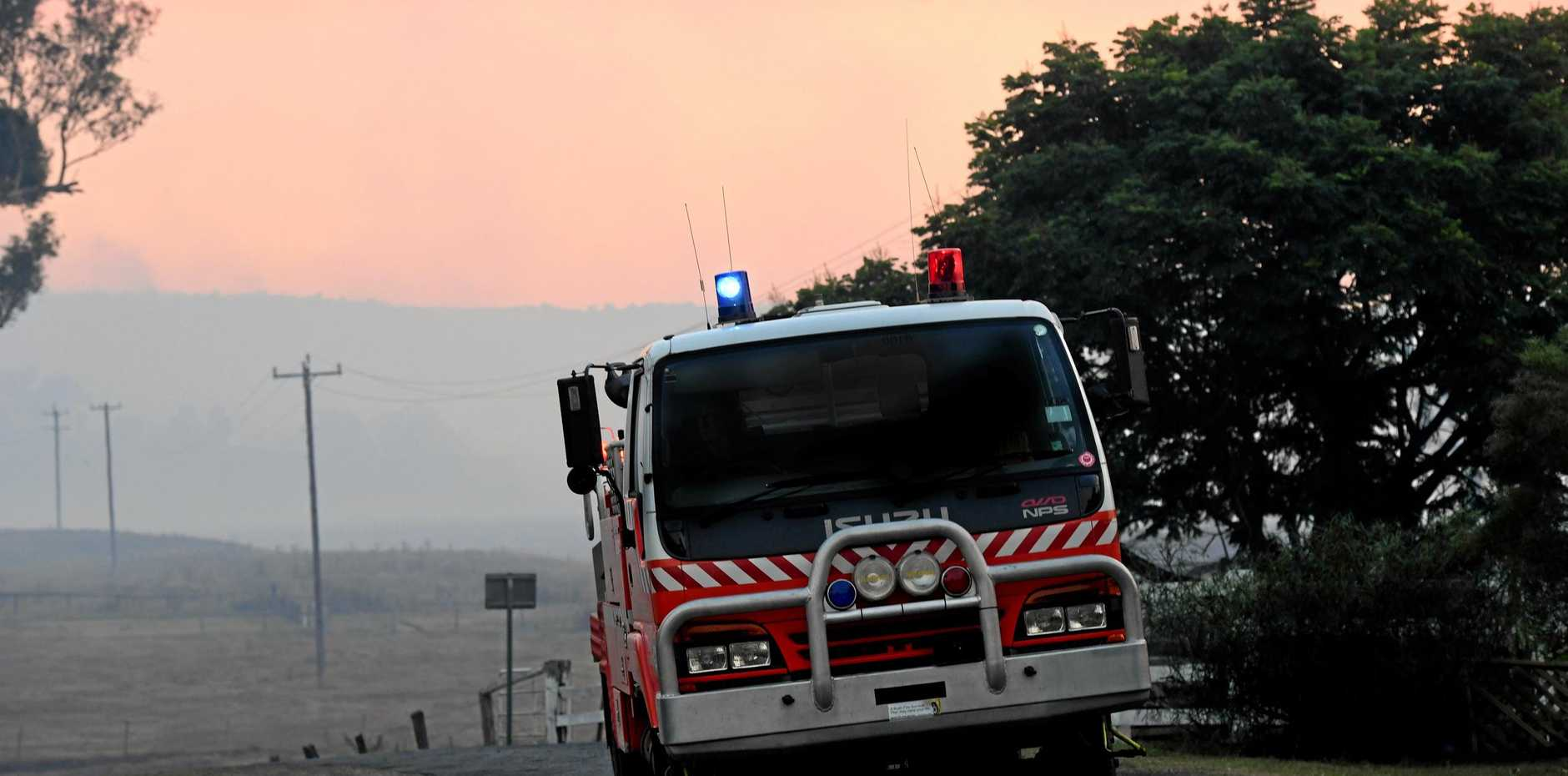 HOUSE FIRE: The second storey of a Queenslander-style home in Laidley has been engulfed by flames.