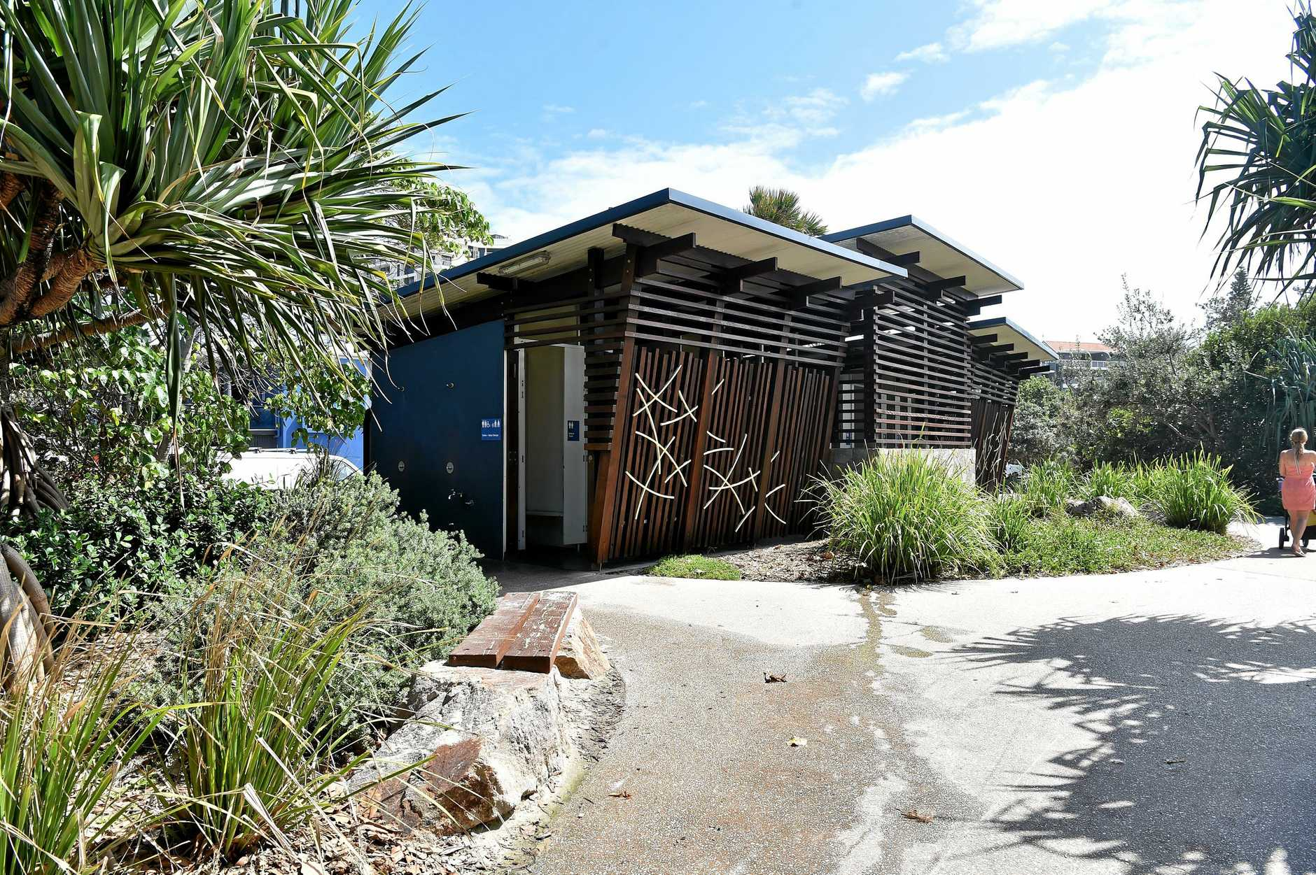 The unisex toilet at Tickle Park where a four-year-old girl was sexually assaulted in January.