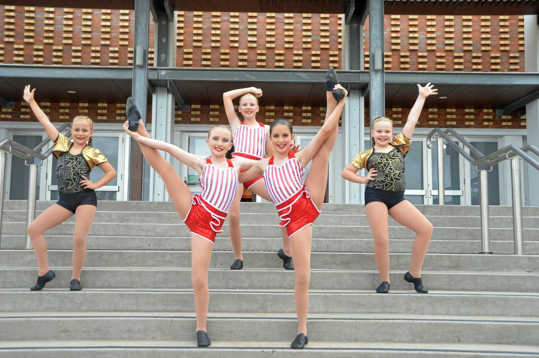 SINING BRIGHT: Kingaroy dancers Poppy Oram, Poppy Jeffs, Molly Oram, Josie Perrett and Billie-Kate Stead loved being on stage at the Kingaroy eisteddfod.
