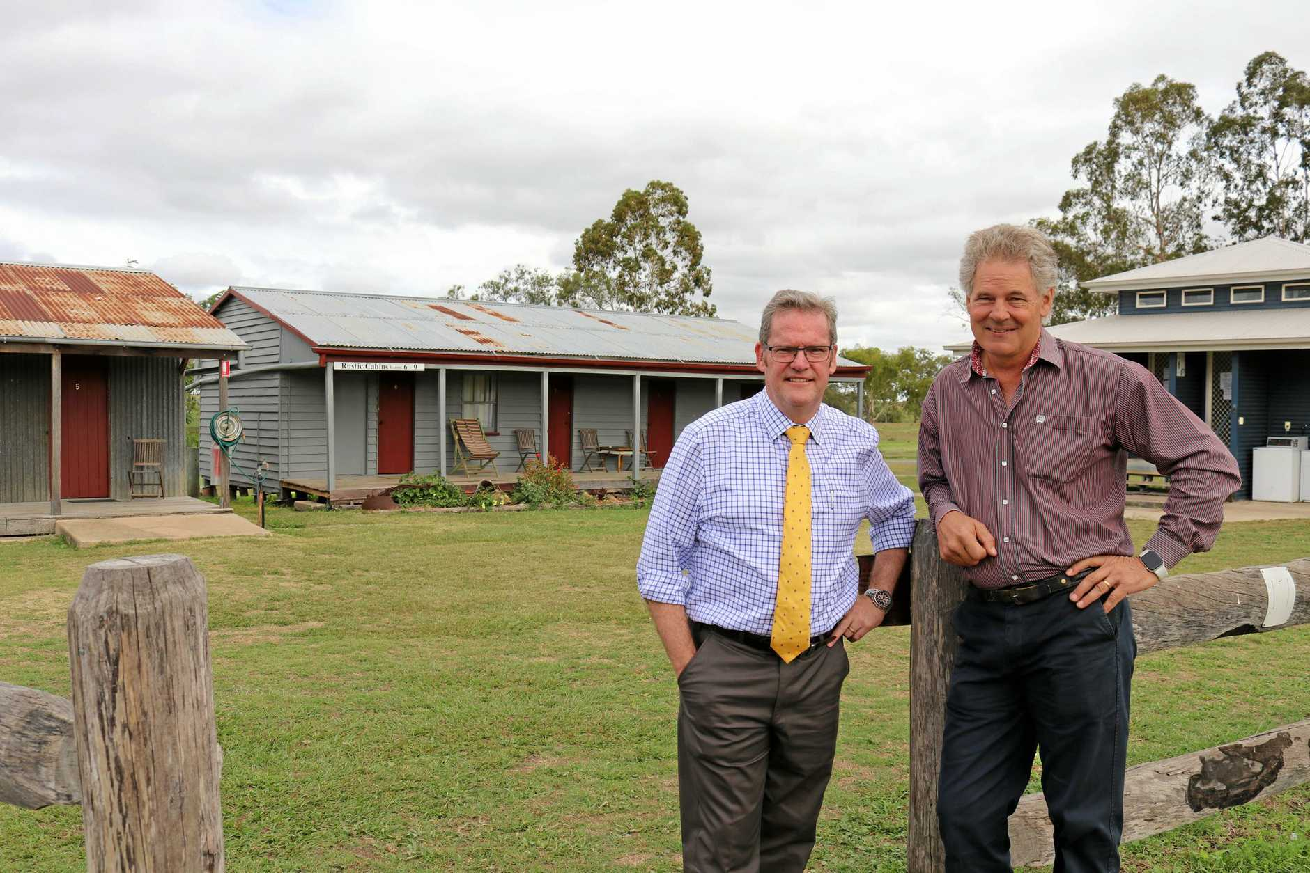 John McVeigh and Councillor Mike Williams at the Rustic Cabins accommodation at Jondaryan Woolshed.
