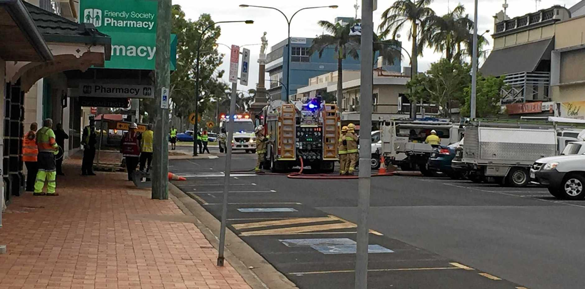 Emergency crews at the scene of a gas leak in the CBD.