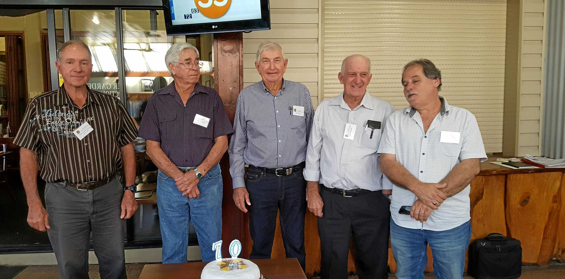 PAST STUDENTS: University of Queensland Gatton Campus Past Students Association (Mackay) committee, from left, Mark Hetherington, Paul Newbery, Clive Rogers, John Whitaker with reunion guest speaker Mark Pace. A reunion for past students will be held on May 19 in Walkerston. RSVP 0407595 349.