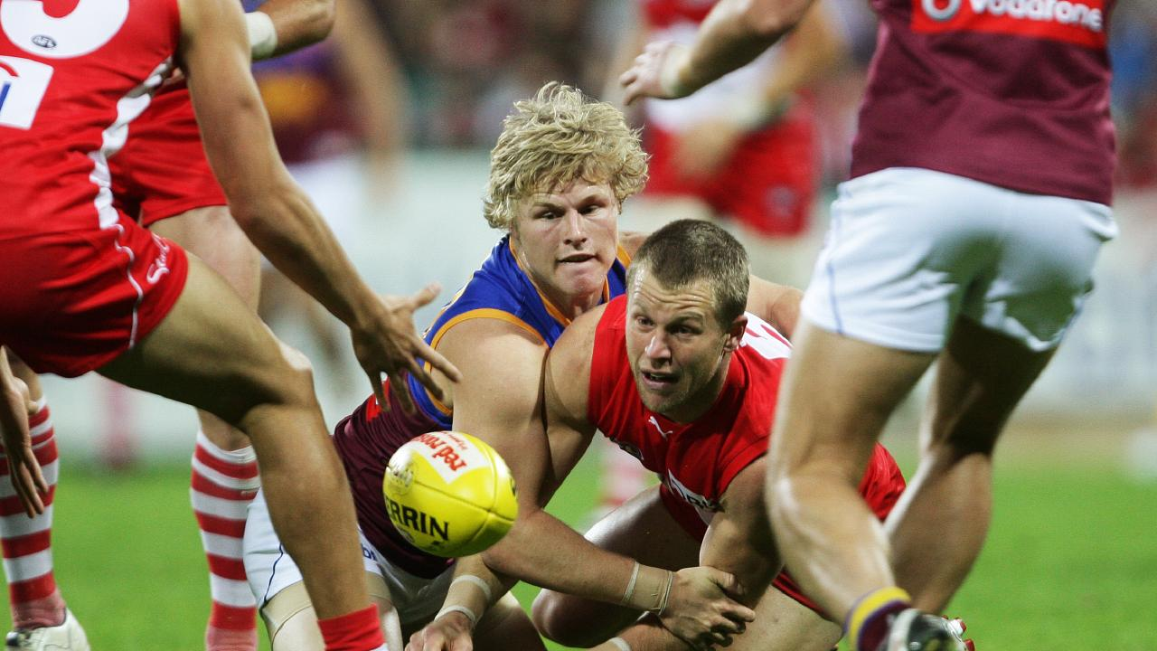 Daniel Rich (left) in action during Brisbane's last victory over Sydney — way back in August 2009. Picture: Phil Hillyard