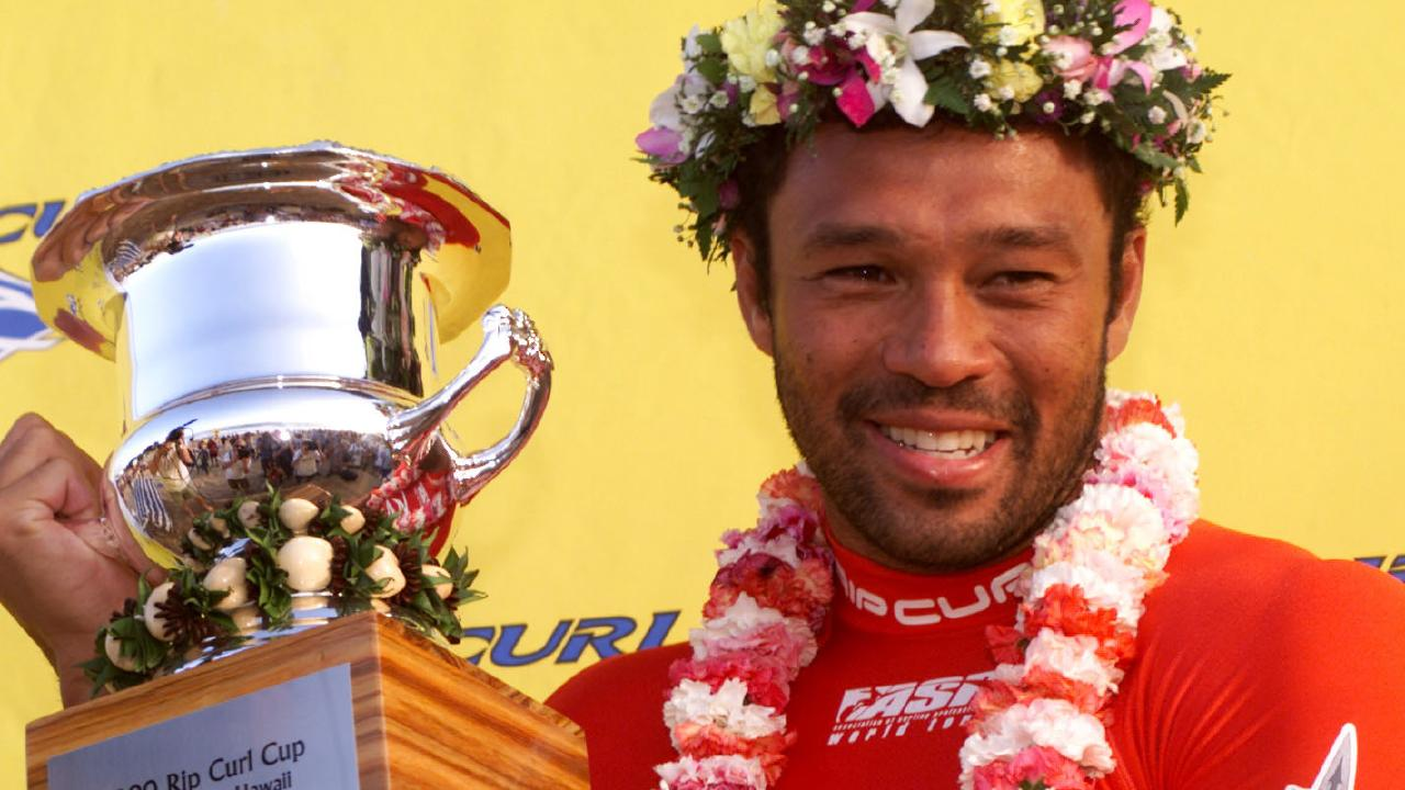 Sunny Garcia after winning the Rip Curl Cup at Sunset Beach, Oahu, Hawaii, in 2000. Picture: Supplied