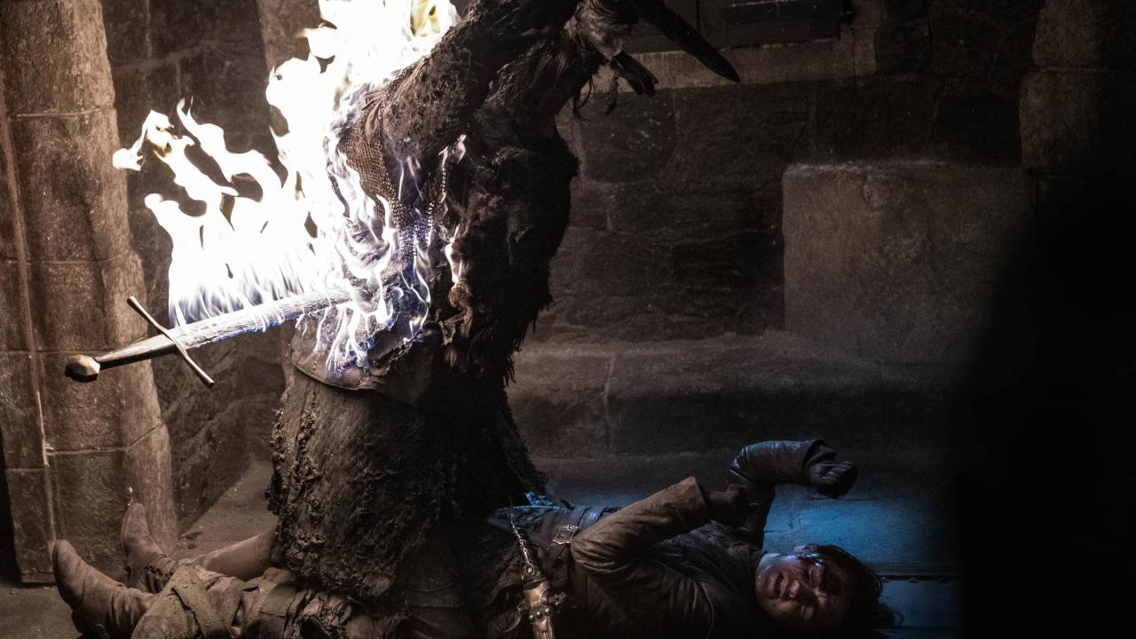 Arya fights for her life against a wight. Pictured: Helen Sloan/HBO via AP