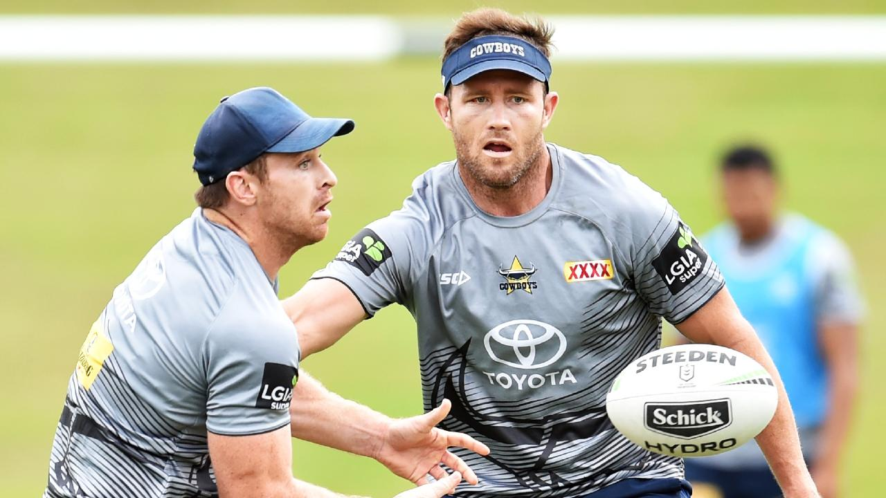 North Queensland Cowboys training from 1300 Smiles Stadium, Townsville. Michael Morgan and Gavin Cooper. Picture: Zak Simmonds