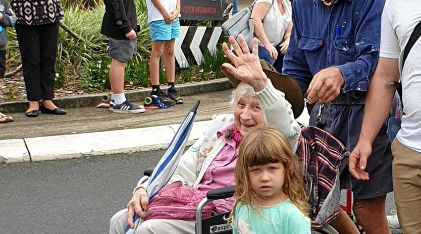 STRONG TRADITION: Alma Graham at the 2019 Anzac Day march in Lismore.