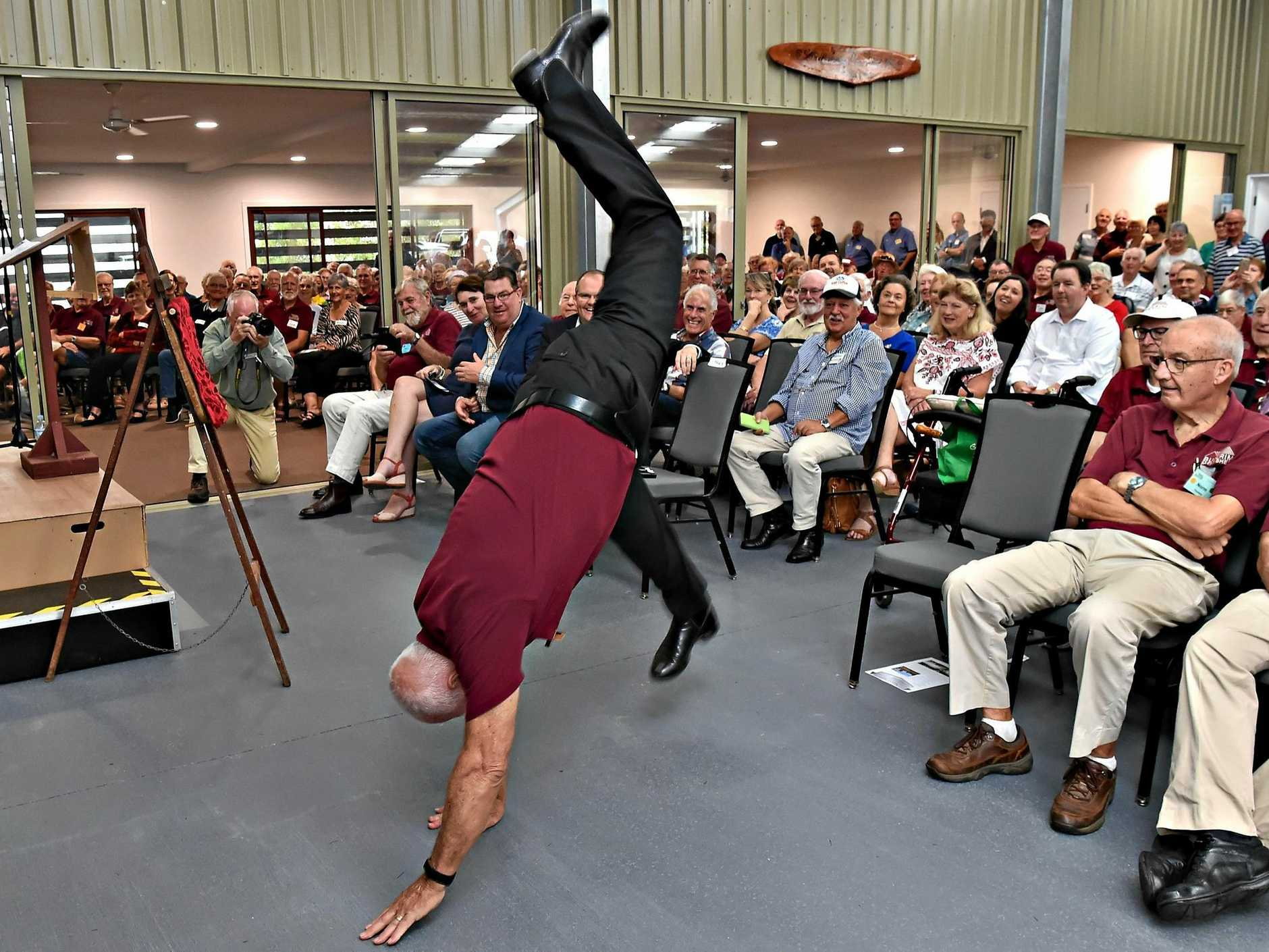 Official opening of the Buderim Men's Shed.Buderim Men's Shed President Barry Cheales does a cartwheel for the opening.