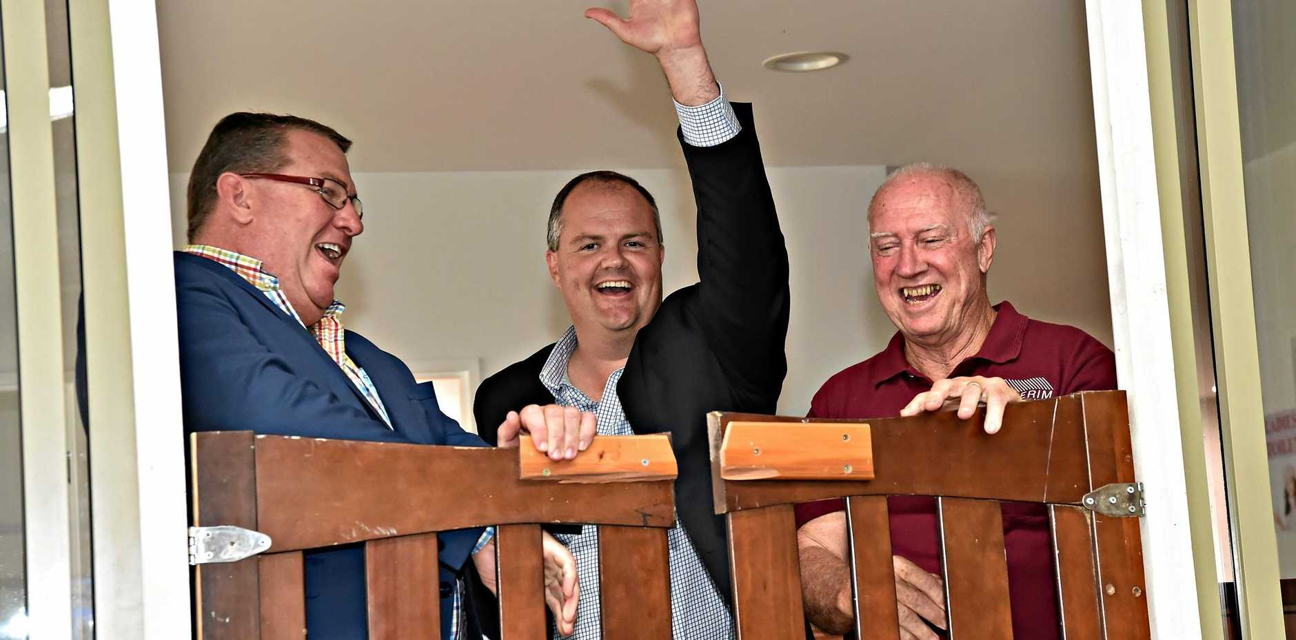 OPEN FOR BUSINESS: Assistant Minister for Roads and Transport Scott Buchholz, Member for Fairfax Ted O'Brien and Buderim Men's Shed President Barry Cheales officially open Buderim Men's Shed.