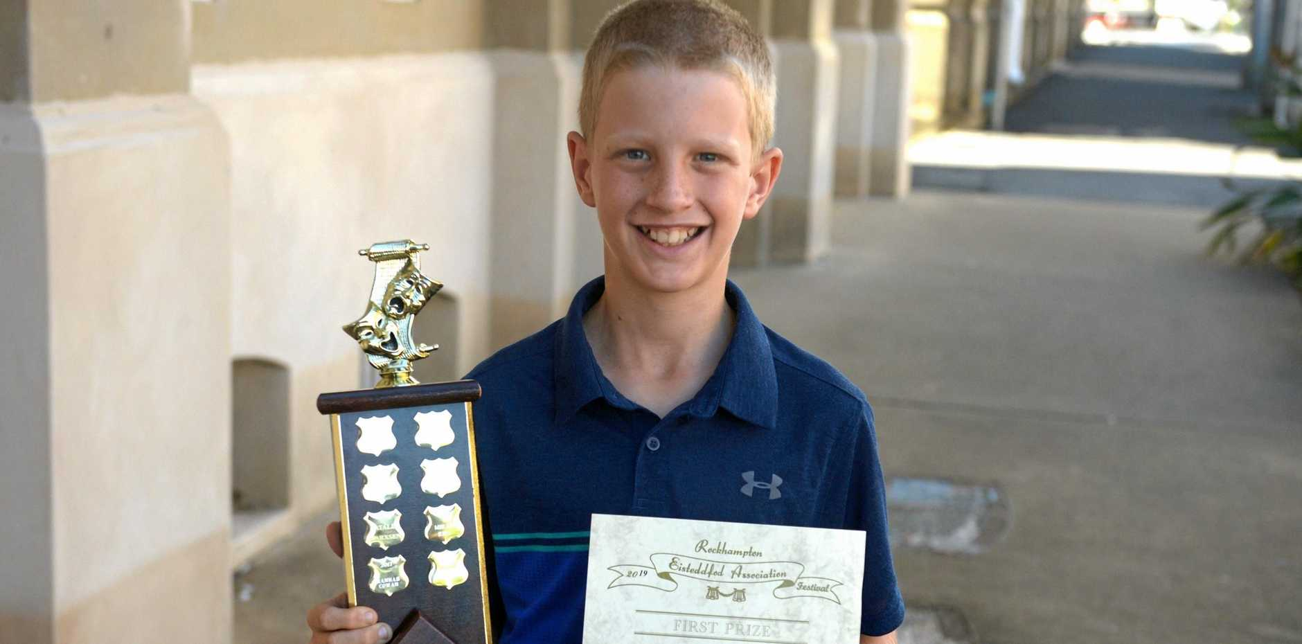 Finlay Manning wins the Molloy Family trophy for Light Verse U11yrs at the Rockhampton eisteddfod