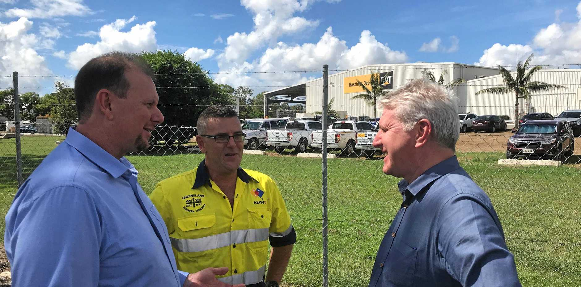 CONCERNED: Capricornia candidate Russell Robertson, Rohan Webb from the AMWU and Labor MP Brendan O'Connor discuss the threat of casualisation.