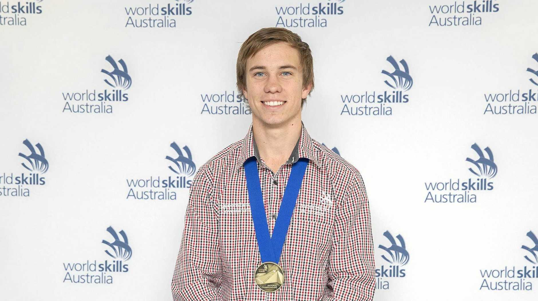Pie Creek apprentice Patrick Brennan poses with his WorldSkills Australia gold medal.