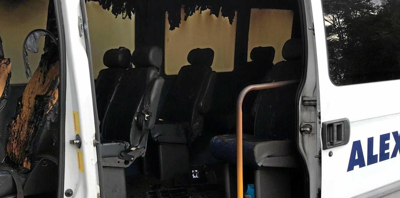 Photos from the scene at Park St, Park Avenue where the PresCare Alexandra Gardens community bus was burnt.