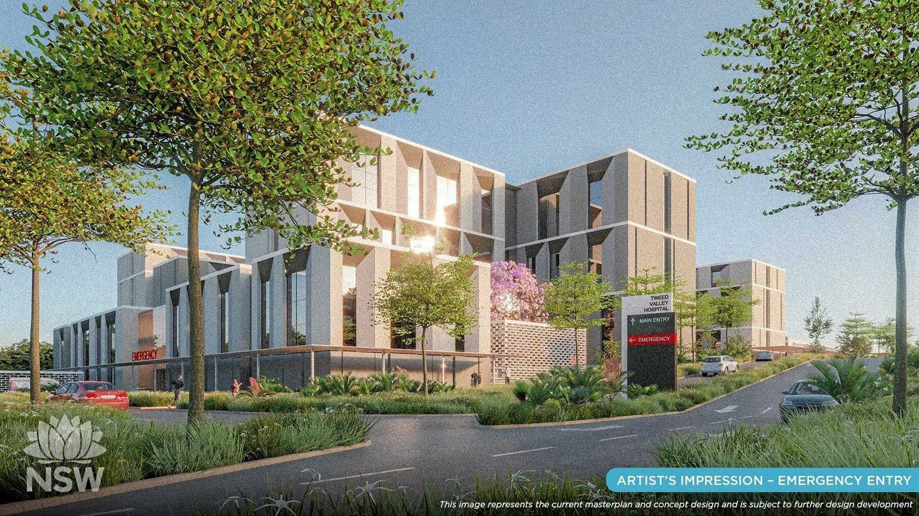 The concept design of the new $534m Tweed Valley Hospital.