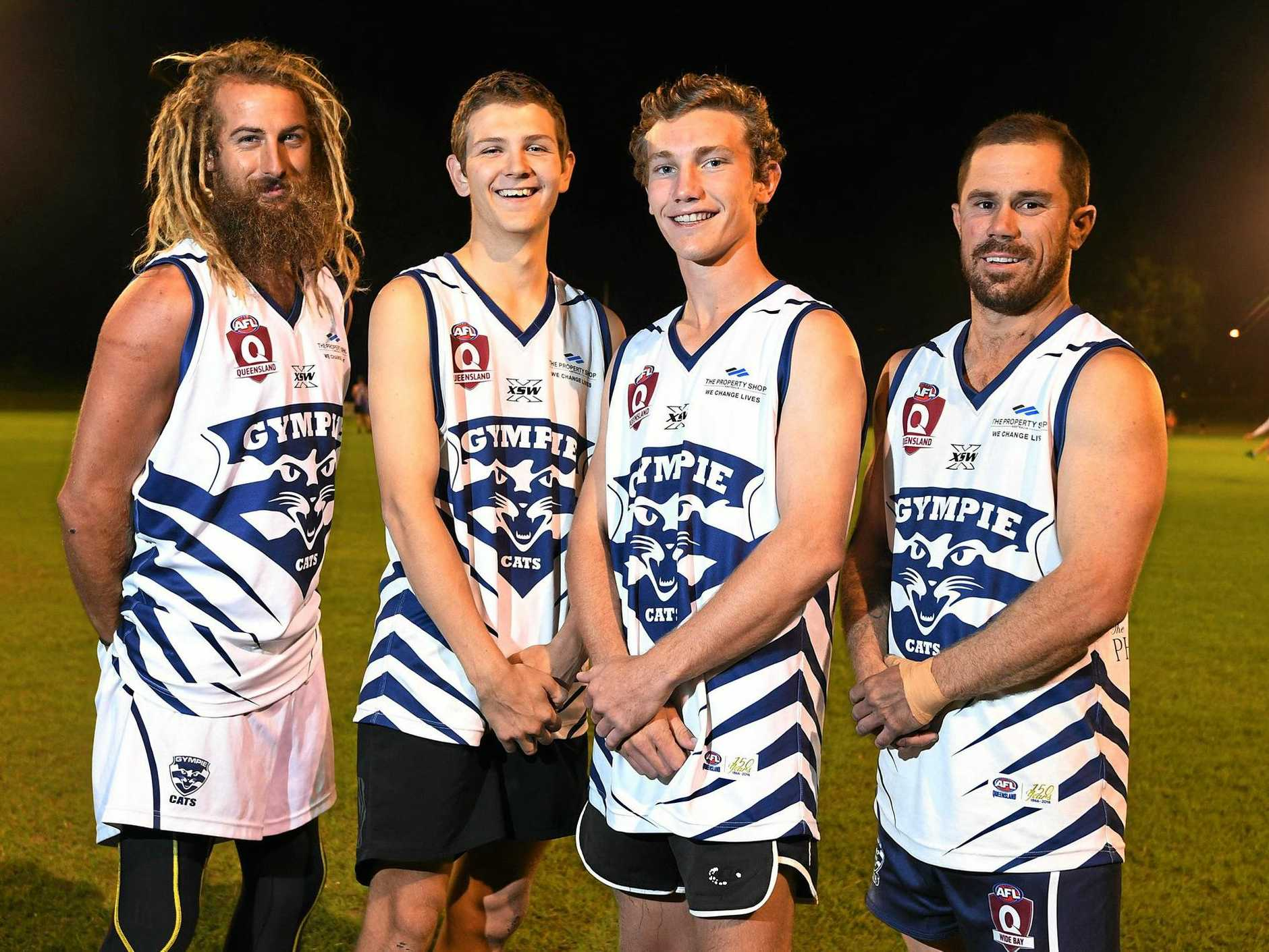 LONG-AWAITED RETURN: Lanze Magin, Kade Kent, and Scott Stiefler (far right) could all return to support Gympie Cats co-captain Jack Cross (second from right) this weekend.