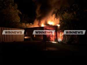 Firefighters battle large shed blaze