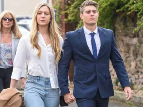 Alex Hepburn walking into court today with girlfriend Lucy Street.