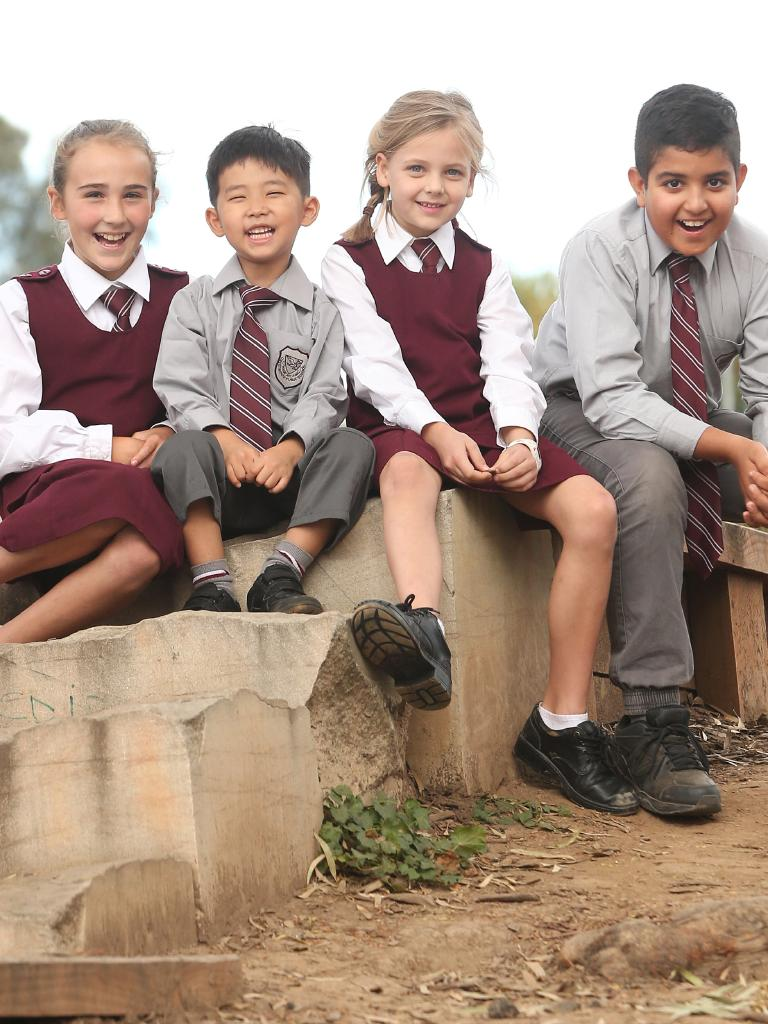 Crestwood Primary School students Mia Rowe, 11, Joshua Kang, 5, Stella van der Steege, 7, and Devaang Parasher, 12 ahead of their mufti day fundraiser for farmers. Picture: Richard Dobson
