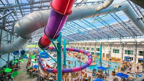 The brave 10-year-old had been desperate to go on the pink and purple slide. Picture: Zehnder's Splash Village