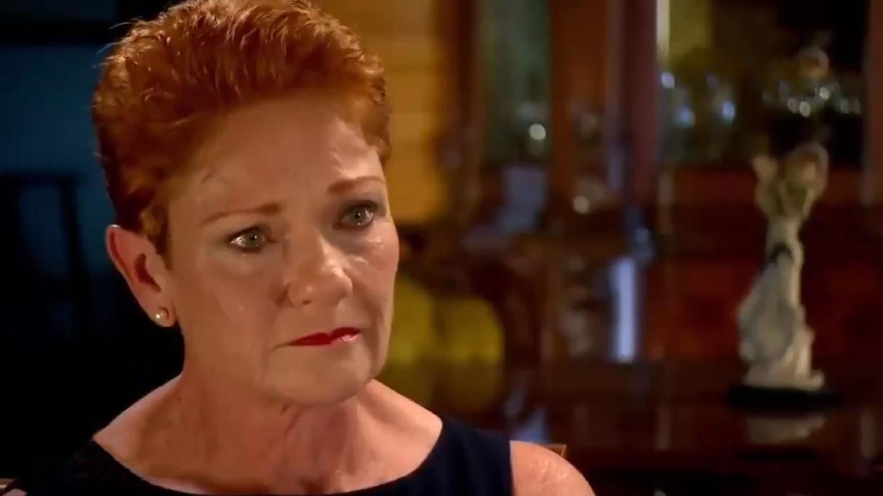 Pauline Hanson tears up on A Current Affair.