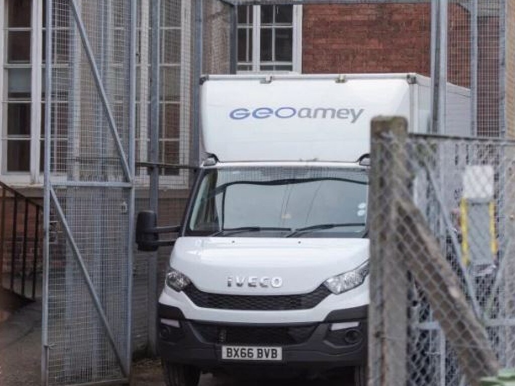 The prison van takes Hepburn to jail after he was sentenced today.