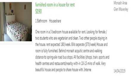 Looking for tenants who are both 'vegetarian and clean'. Picture: Gumtree.