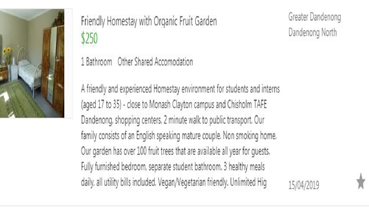 This ad is a bit gentler, saying the property is vegan and vegetarian friendly, with 100 fruit trees. Picture: Gumtree.