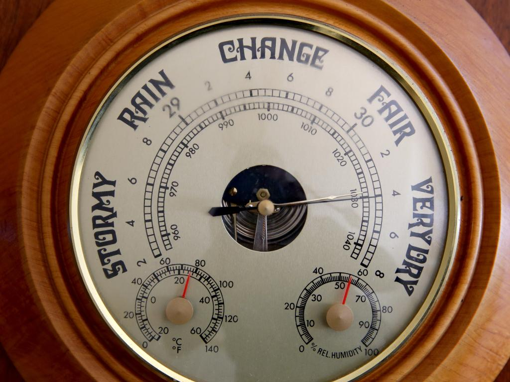 A barometer reads 'very dry' on Richard and Diane Darcy's farm in Tullamore. Picture: Jonathan Ng