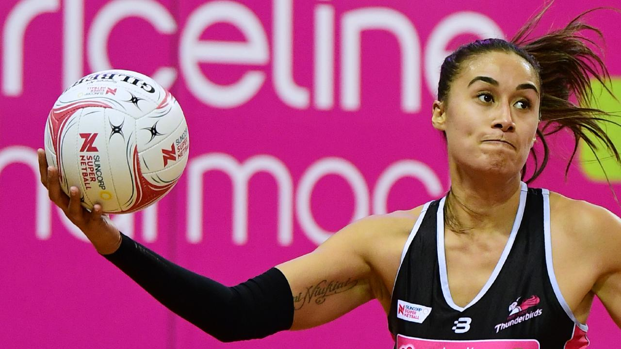 Maria Folau made her Super Netball debut last weekend in the Thunderbirds first win since 2017.
