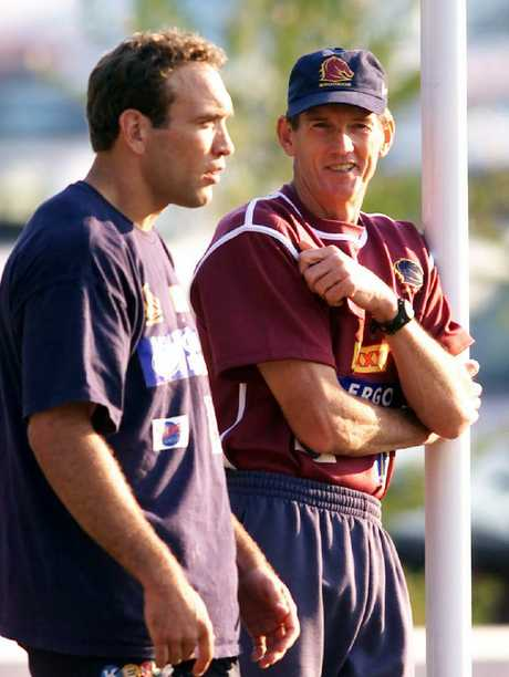 Wayne Bennett, pictured with Gorden Tallis in 2000, is an old soul. Picture: David Kapernick
