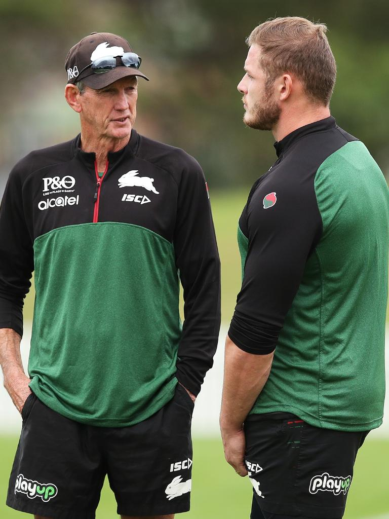 Bennett speaks with George Burgess during training. Picture: Phil Hillyard