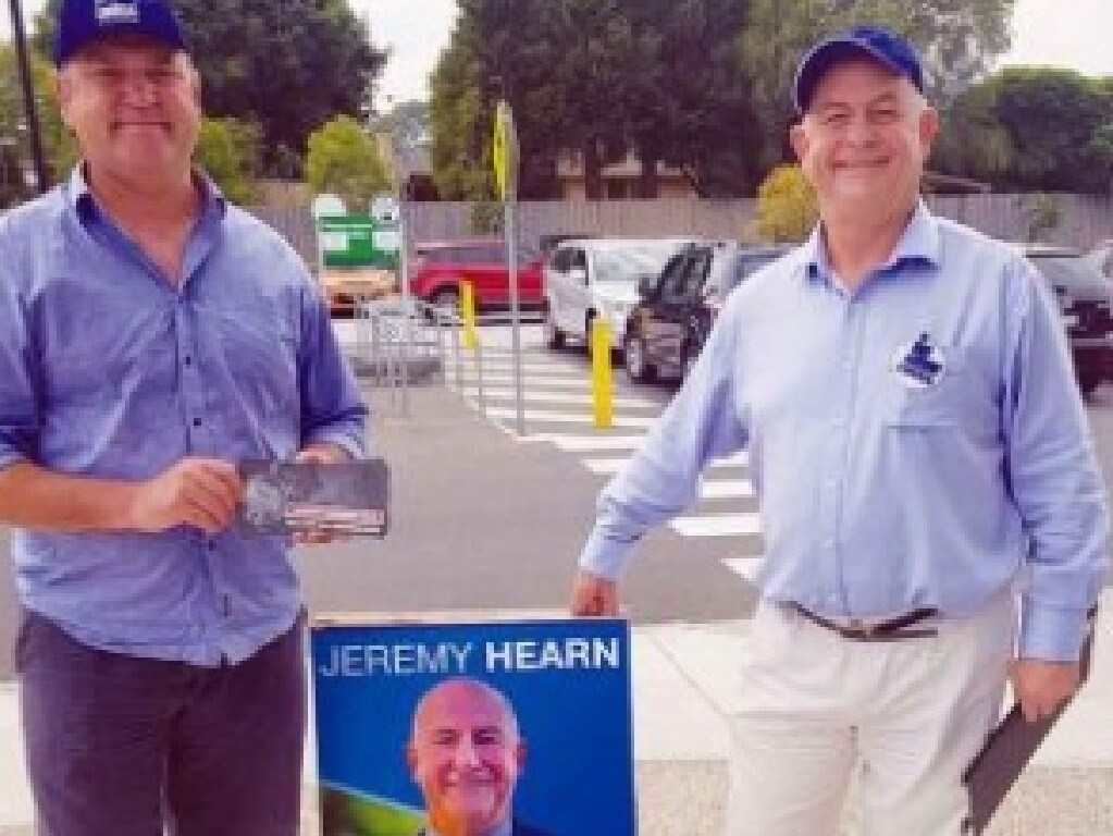 Dumped Liberal candidate Jeremy Hearn on the right.