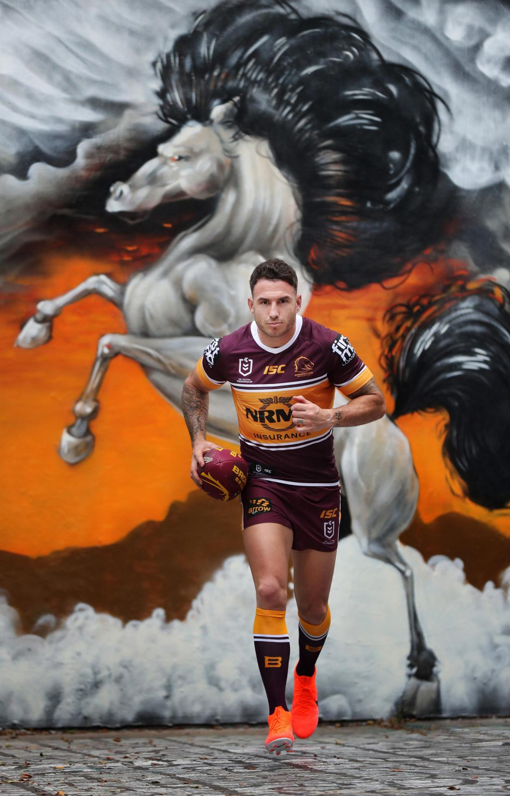Darius Boyd tonight plays his 300th NRL game — against his long-time mentor. Artwork: BoHDi/YMCA Fortiude Valley. Picture: Annette Dew
