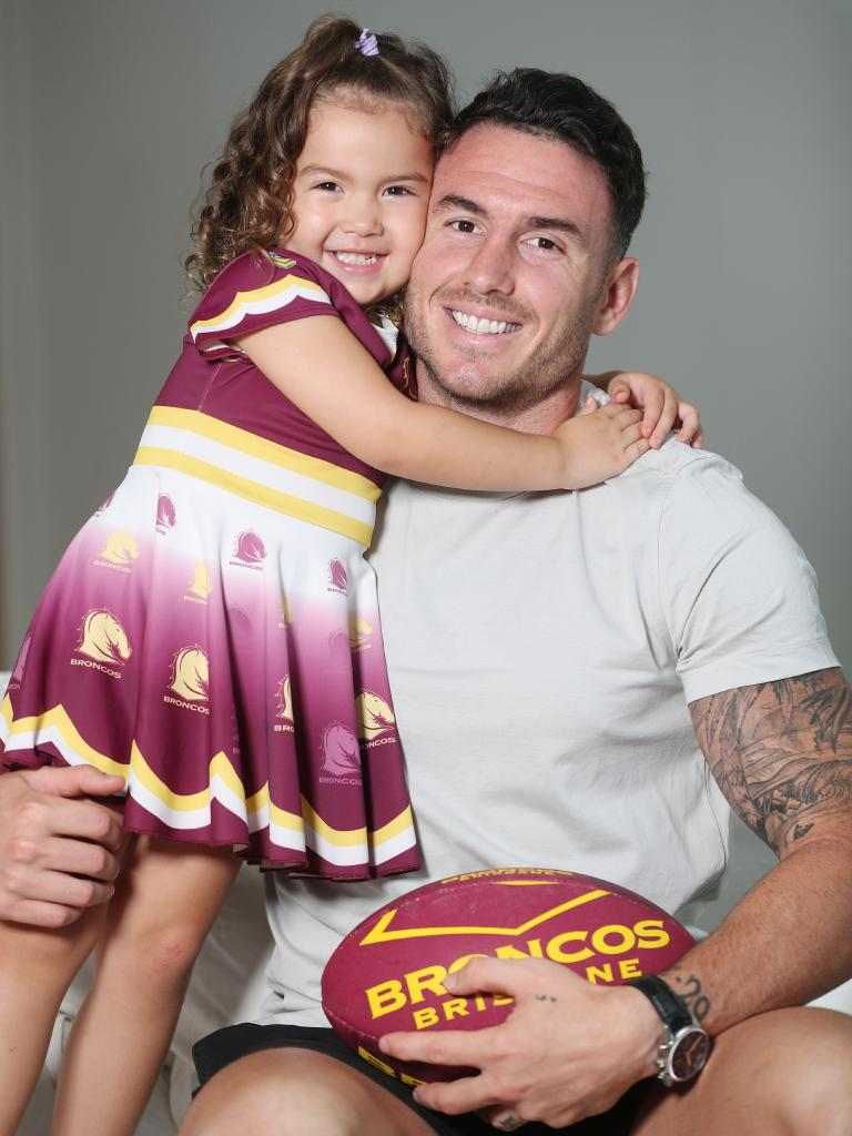 Darius Boyd today with daughter Willow, 3. Picture: Annette Dew